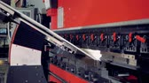folding machine : Metal bending machine. Metal processing industrial equipment bend sheet of metal.