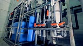valves : Equipment for water purification. Pipeline, valves, gauges. 4K. Stock Footage
