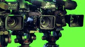 cut out : Professioanl isolated cameras on a green screen. Stock Footage