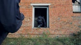terörist : Two SWAT solders jump run and jump inside a rundown building. Stok Video