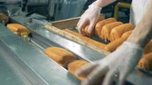 бублик : Roolls being packed at bakery packing line.