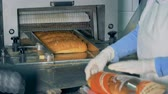 çıktısı : Worker puts sliced loaf into a cellophane package.