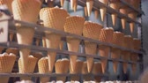 мороженое : Rows of waffle cones are getting lifted and lowered by a factory mechanism