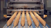 alimentação : Six rows of waffle cones inserted into each other are slowly moving along the conveyor belt