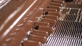 guloseima : Close-up view on process of poured candy bars with liquid chocolate.