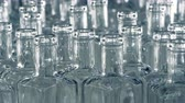 recycling plant : Lots of bottles slowly move on an assembly line at a factory. 4K.