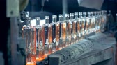 engarrafado : A line of incandescent newly-made glass bottles is moving along the conveyor belt