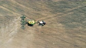 fornecer : Special vehicle provides arable works, top view. Stock Footage