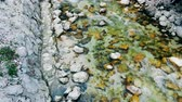 stillness : Top view of stones getting bathed by a flow of stream water