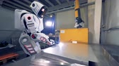 straightening : Robot welds a metal sheet, close up. Stock Footage