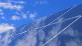 solar station : The sky is reflecting on the surface of a solar panel Stock Footage