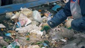 sorting : Stream of rubbish is getting sorted by a plant worker. Waste recycling plant. Stock Footage