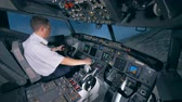 led panel : Flight instructor is turning the plane around during a airplane flight. Stock Footage
