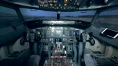 bússola : Empty cabin cockpit of an aircraft from the inside. Pilot cabin of an airplane. Stock Footage