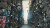 prensado : Trash stacked at a dump, close up. Stock Footage