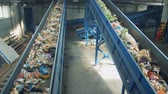 sorting : Moving garbage on conveyors, top view. Stock Footage