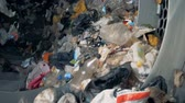 recycling facility : Household garbage at a recycling center, close up. Stock Footage