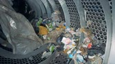 recycling facility : Wasted trash sorted at a plant, slow motion. Stock Footage
