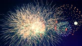 с Новым годом : Red and orange fireworks are bursting in the sky. Happy new year concept.