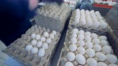 agrarian : Farm worker puts eggs on a cardboard tray, stored in piles.