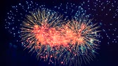 с Новым годом : Sparkling fireworks in night sky Стоковые видеозаписи