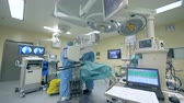 traumatology : Innovative medicine concept. Surgeons work in a room with medical equipment.