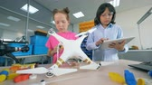 学者 : Girl and boy repairing a drone, close up. 動画素材