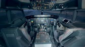 sivil : Empty plane cabin with equipment, close up. Stok Video