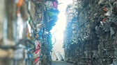 recyclable : Piled rubbish at a factory. Many stacks of wastepaper at a recycling factory.