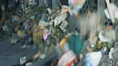 basureros : Discarded rubbish in a recycling center, close up. Archivo de Video