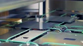 module : Close up of solar module cells moving along the conveyor in a modern industrial equipment. Stock Footage