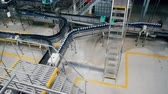 enlatamento : Top view of a beer-producing facility with moving conveyor belts