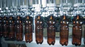 cervejaria : Automated machine filling bottles, close up.