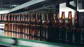 cervejaria : Glass bottles going on a brewery conveyor, close up. Vídeos