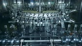 duch : Glass bottles are getting transported by a factory machine Wideo