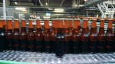 cerveza artesanal : Glass bottles filled with beer are moving along the transporter