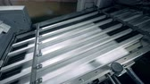 plotter : Pieces of paper are moving fast through the printing press Stock Footage
