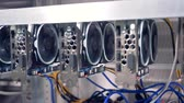 etherium : GPU in a row for bitcoin mining. Stock Footage