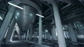 mekanik : Big facility with beer tanks, close up. Stok Video