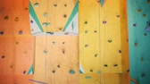 hold : Colored wall for climbing, close up. Stock Footage