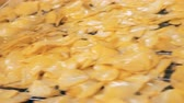 processado : Oiled potato chips are moving along the conveyor belt