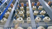 szövés : Many clews rotating while coiling threads at a modern textile plant.