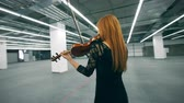slierten : Professional musician plays violin, standing alone in a room. Stockvideo