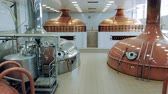 szelep : Modern equipment works at a brewing plant, making beer in containers. Stock mozgókép
