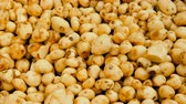 lavado : Cleaned potato tubers are slowly moving in a pile