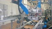 distribution automatique : Robotic device packs cardboard boxes on a moving line at a plant.