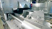 distribution automatique : Raw alimentary material is getting processed by the conveyor Vidéos Libres De Droits