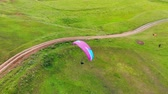 paragliding : Top view of the parasailing flight above the fields