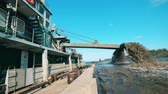 dredger : Dirty water is pouring from the industrial barge Stock Footage