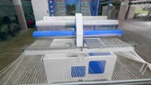 katoenplant : Modern weaving machine works with white strings at a textile plant. Textile factory equipment in work.